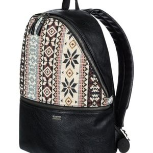 Roxy Faux Leather & Tapestry Backpack - Black